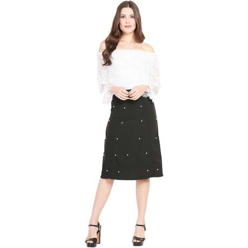 J&G FASHION White & Black Partywear Two Piece Dress