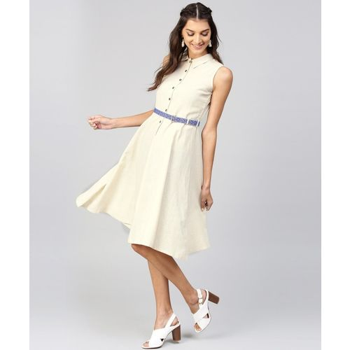 Sassafras Women Fit and Flare White Dress