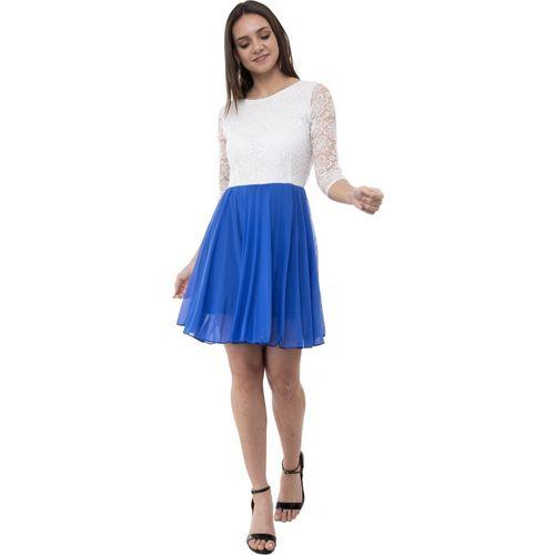AAKRITHI Women Skater Blue, White Dress