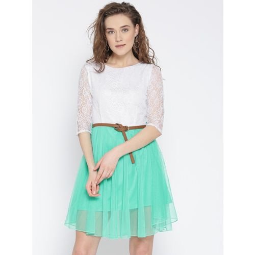 U&F Women Fit and Flare White, Light Green Dress