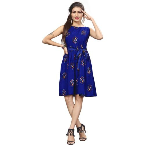 New Ethnic 4 You Women Fit and Flare Blue Dress