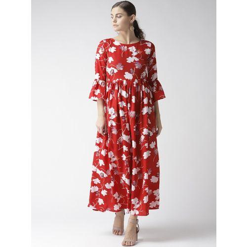 U&F Women Maxi Red, White Dress