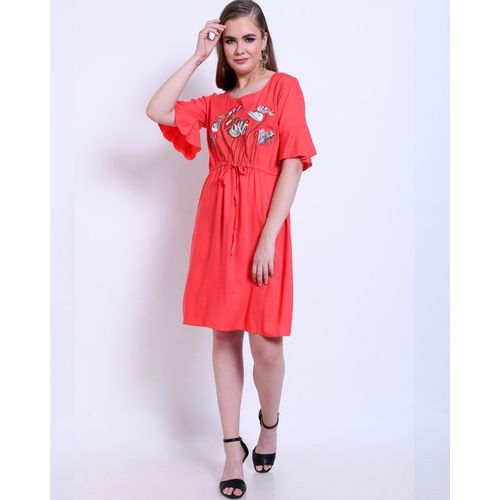 Addyvero Women Fit and Flare Pink Dress