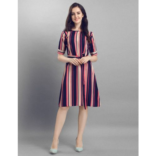Selvia Women A-line Dark Blue, Pink, Beige, Multicolor Dress