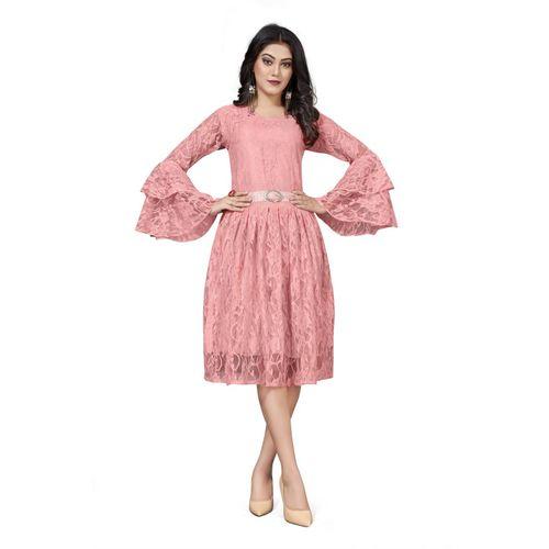 Crally Women A-line Pink Dress