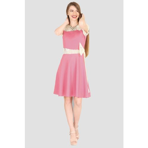 Raas Pret Women Fit and Flare Pink, Beige Dress
