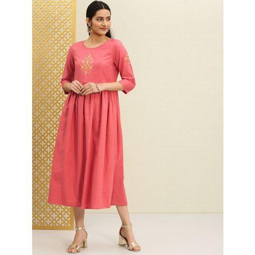 House of Pataudi Women A-line Pink Dress