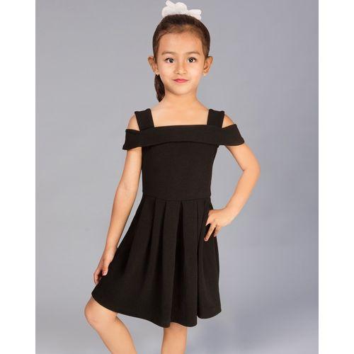 Addyvero Indi Girls Midi/Knee Length Party Dress(Black, Fashion Sleeve)