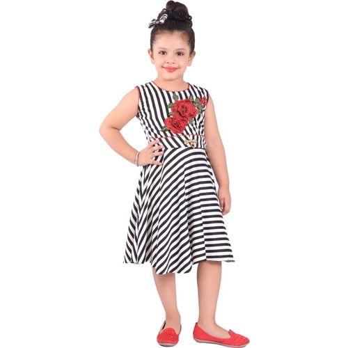 Ziva Fashion Girls Midi/Knee Length Party Dress(Black, Sleeveless)