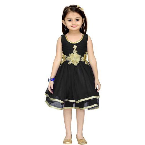 Aarika Girls Midi/Knee Length Party Dress(Black, Sleeveless)