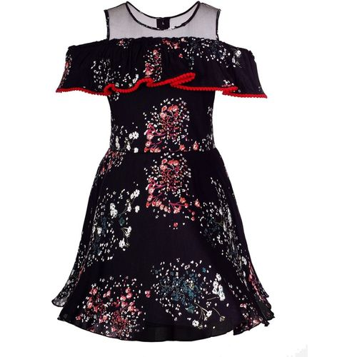 Naughty Ninos Girls Midi/Knee Length Party Dress(Black, Sleeveless)