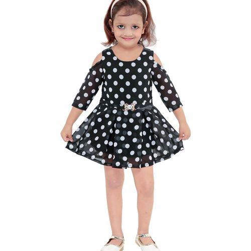JUST TRENDY Girls Midi/Knee Length Party Dress(Black, 3/4 Sleeve)
