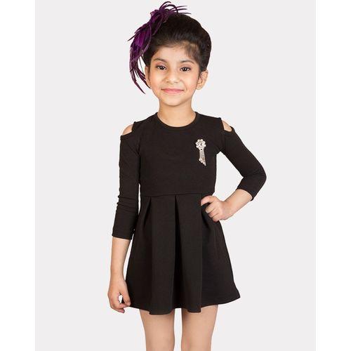 Addyvero Girls Midi/Knee Length Party Dress(Black, 3/4 Sleeve)