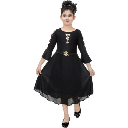 FTC FASHIONS Girls Midi/Knee Length Party Dress(Black, 3/4 Sleeve)