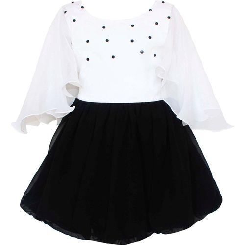MVD Fashion Girls Midi/Knee Length Party Dress(Black, Fashion Sleeve)