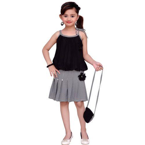Adiva Girls Mini/Short Party Dress(Black, Sleeveless)
