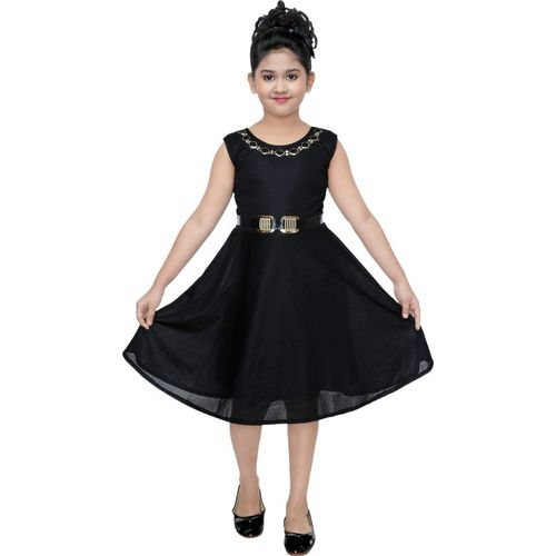 FTC FASHIONS Girls Midi/Knee Length Party Dress(Black, Sleeveless)