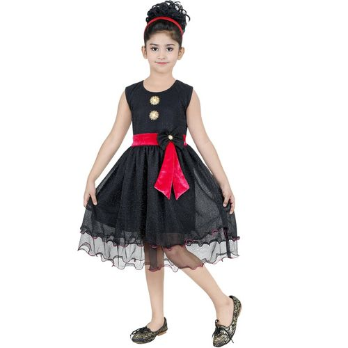 stylokids Girls Midi/Knee Length Party Dress(Black, Sleeveless)