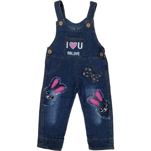 Icable Dungaree For Girls Casual Self Design Denim(Blue, Pack of 1)