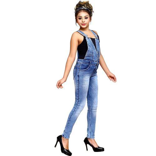 ELENDRA Dungaree For Girls Casual Self Design Denim(Blue, Pack of 1)