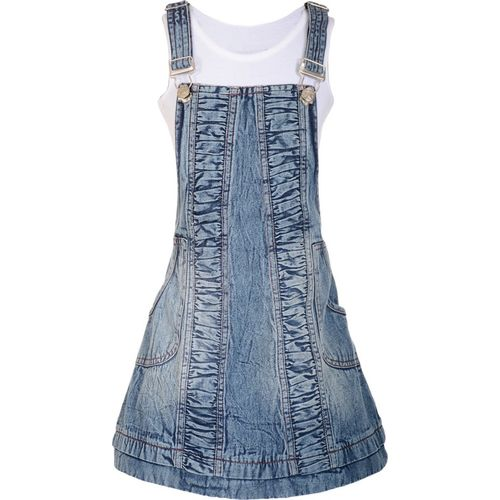 Naughty Ninos Dungaree For Girls Solid Cotton Blend(Dark Blue, Pack of 1)