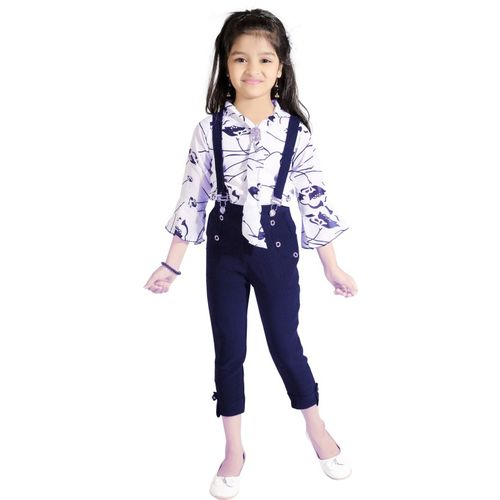 AD & AV Dungaree For Girls Casual Floral Print Cotton Blend(Blue, Pack of 1)