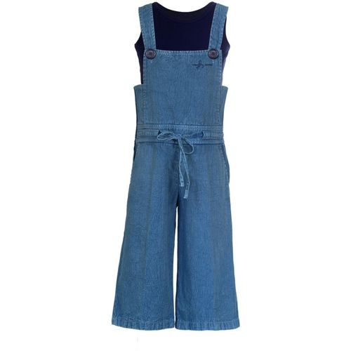 Naughty Ninos Dungaree For Girls Casual Solid Cotton Blend(Blue, Pack of 1)