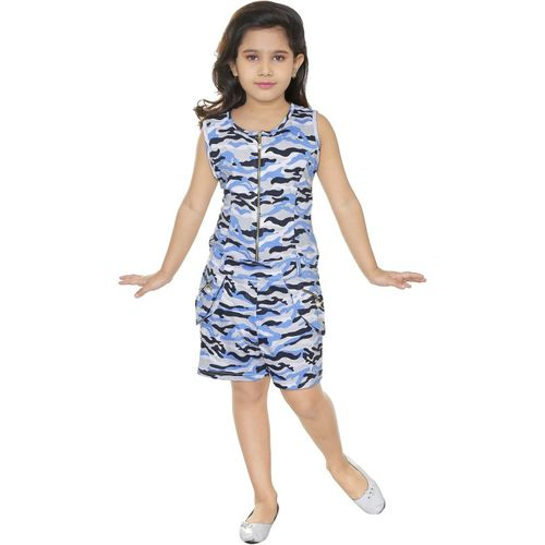 yashvi trends Dungaree For Girls Printed Pure Cotton(Blue, Pack of 1)