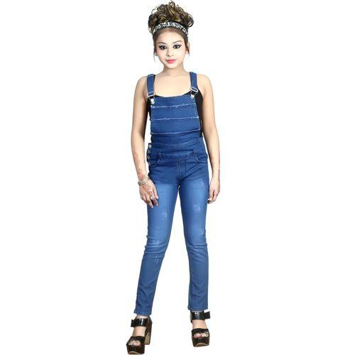 FNOCKS Dungaree For Girls Casual Self Design Denim(Blue, Pack of 1)