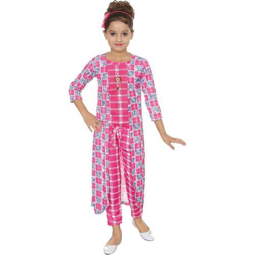 N BAHUBALI Checkered Girl's Jumpsuit