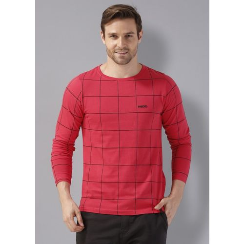 Rodid Checkered Men Boat Neck Red T-Shirt