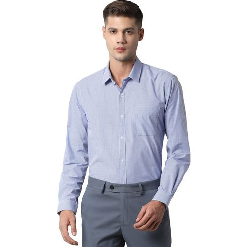 Peter England Men Checkered Formal Blue Shirt