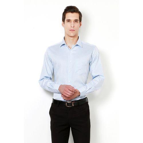 Van Heusen Men Checkered Formal Blue Shirt