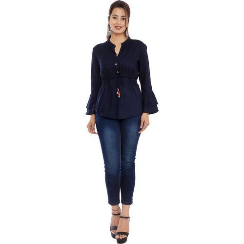 Silkova Casual Bell Sleeve Solid Women Blue Top