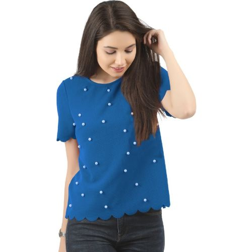 LAYA Casual Short Sleeve Solid Women Blue Top