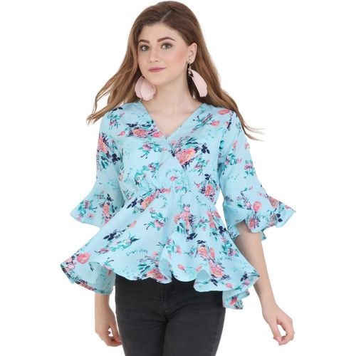 Emeros Casual Bell Sleeve Floral Print Women Blue Top