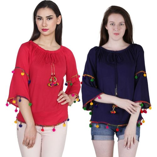 Jollify Casual Bell Sleeve Solid Women Red, Blue Top