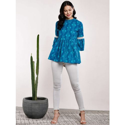 Sangria Casual Bell Sleeve Printed Women Blue Top