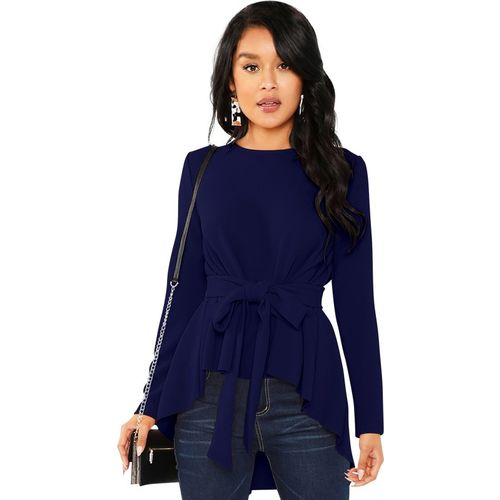 ILLI LONDON Casual Full Sleeve Solid Women Blue Top