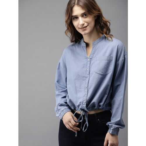 HERE&NOW Casual Regular Sleeve Solid Women Blue Top