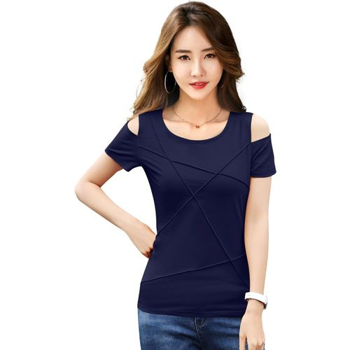 ILLI LONDON Casual Short Sleeve Solid Women Blue Top