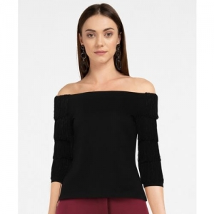 Ginger by Lifestyle Casual 3/4 Sleeve Solid Women Black Top