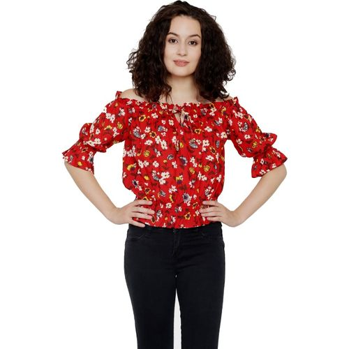 Galaxy Trendz Party Juliet Sleeve, Bell Sleeve Floral Print Women Multicolor, Red Top