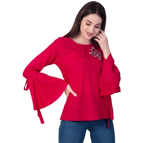 Nandani Fashion Party Bell Sleeve Embroidered Women Pink Top