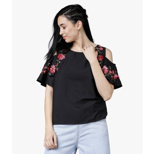 Tokyo Talkies Casual Cold Shoulder Embroidered Women Black Top