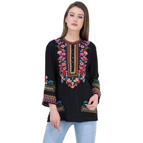 SAAKAA Casual Regular Sleeve Embroidered Women Black Top