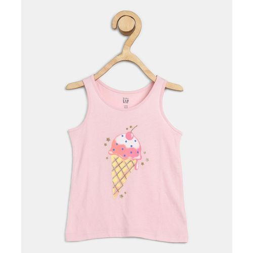 GAP Girls Graphic Print Pure Cotton T Shirt(Pink, Pack of 1)