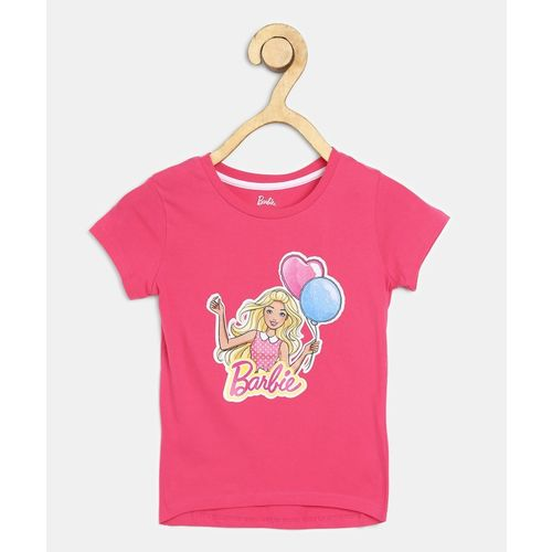 Barbie Girl's Graphic Print Cotton Blend T Shirt(Pink, Pack of 1)