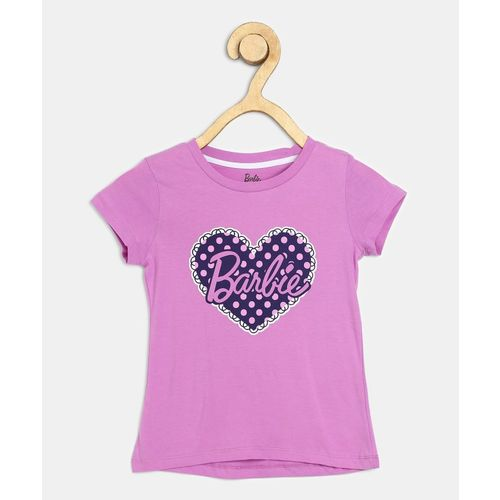 Barbie Girl's Printed Cotton Blend T Shirt(Purple, Pack of 1)