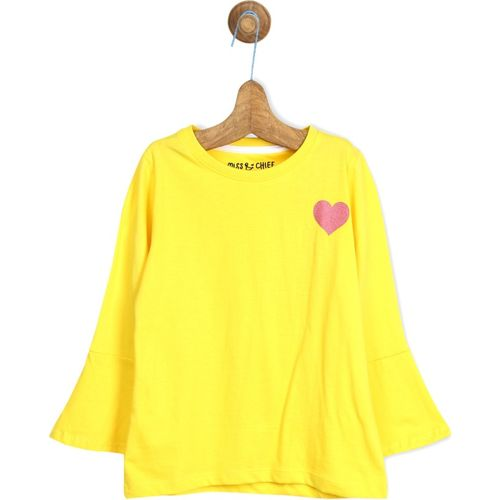 Miss & Chief Girls Solid Pure Cotton T Shirt(Yellow, Pack of 1)